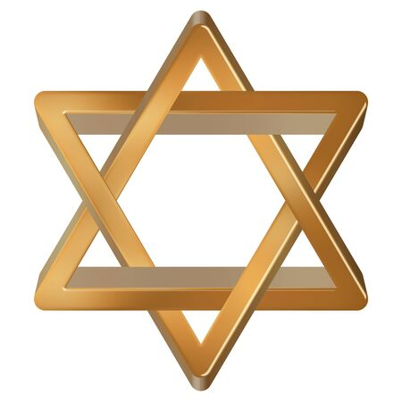 Golden star of David isolated on white photo
