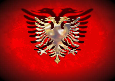 Golden and red flag of Albania photo