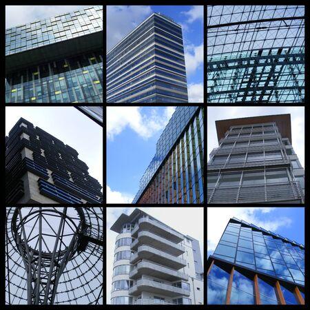 Mosaic of nine modern European buildings