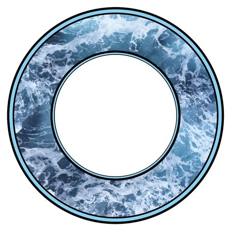 Illustrated frame made of foaming blue  water photo