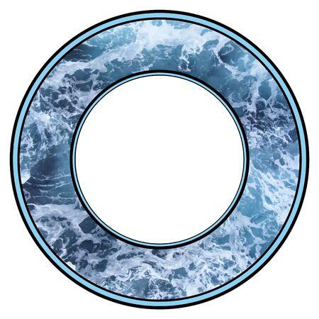 espumante: Ilustrado marco de espuma de agua azul