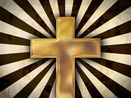 Golden cross on an abstract background photo