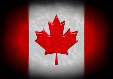 Illustration of a Canadian flag with grunge effect and faded edges illustration