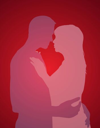 Illustration of two people embracing one another Stock Illustration - 9451093