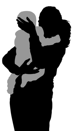 fostering: monochrome silhouettes of a mother holding a child Stock Photo