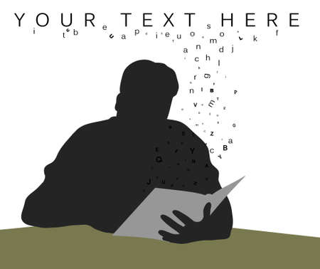 Illustration of a man reading a book with letters spilling out illustration