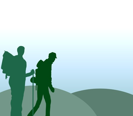Illustration of two people hiking illustration