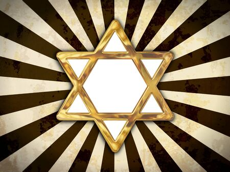 Golden star of David isolated on an abstract background photo