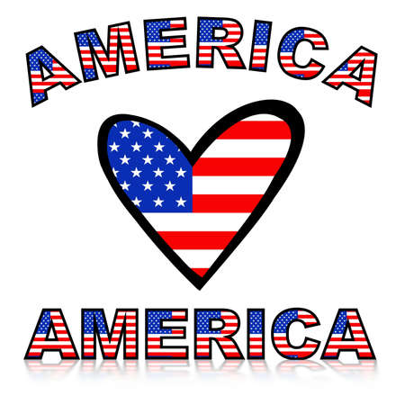 Illustration of a heart with United states of America flag texture and text illustration