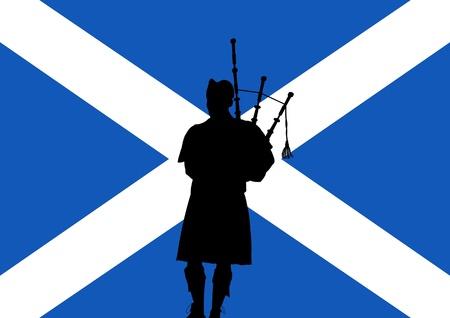 gaita: silueta de un hombre tocando la gaita sobre una bandera de Escocia