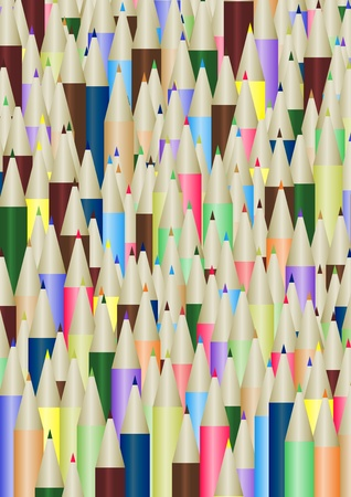 Illustration of lots of colored pencils Stock Illustration - 9515597