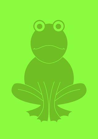 Illustration of a green frog on a green background illustration