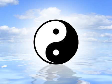 chinese symbol: Illustrated Yin Yang symbol on an ocean background