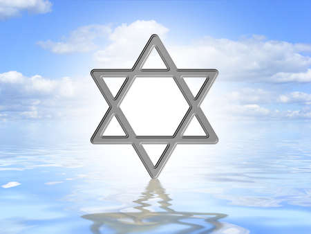 Illustrated Star of David symbol on an ocean background photo