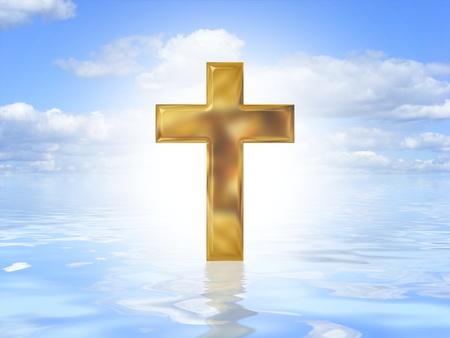 gold cross: Illustrated Gold cross symbol on an ocean background