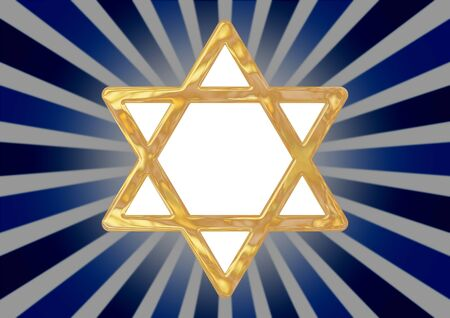Illustrated star of David symbol on an abstract blue background photo