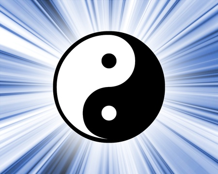 good karma: Illustrated Yin Yang symbol on an abstract blue background