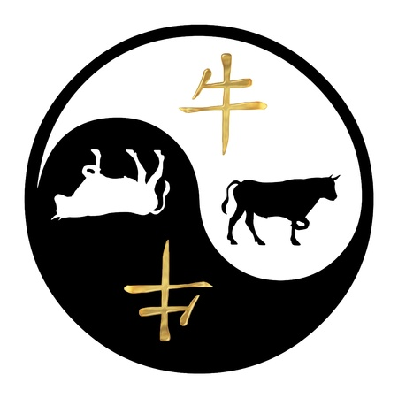 Yin Yang symbol with Chinese text and image of an Ox photo