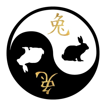 Yin Yang symbol with Chinese text and image of a Rabbit Stock Photo - 9551582