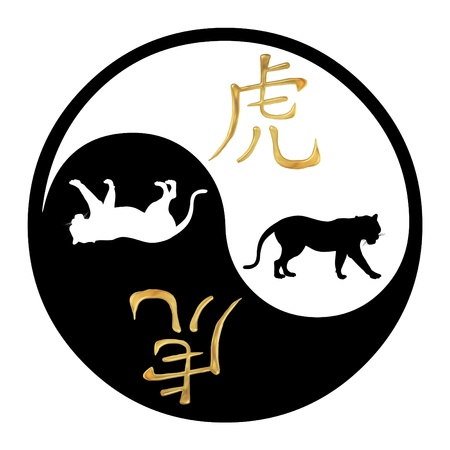 fortunetelling: Yin Yang symbol with Chinese text and image of a Tiger