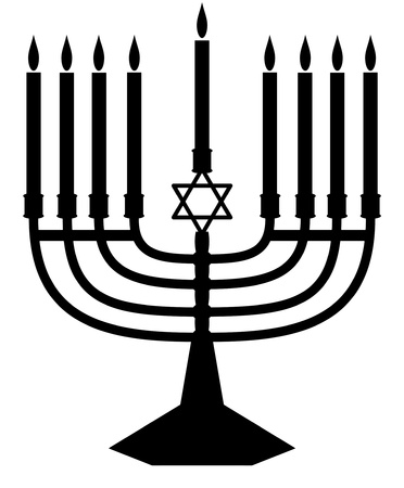 hanukah: illustrated silhouette of a jewish menorah