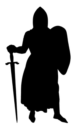 knightly: Medieval Knight silhouette isolated on a white background