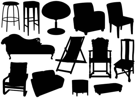 Isolated silhouettes of furniture photo
