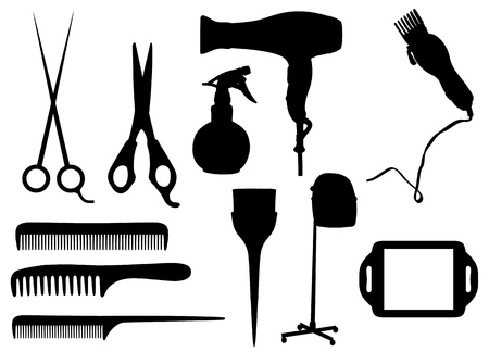 hairstyling: Isolated silhouettes of Hairdressing objects Stock Photo