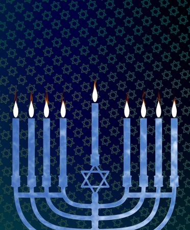 Illustration of a menorah with an abstract blue background