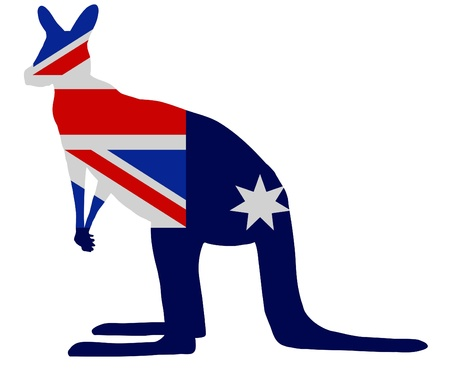 Silhouette of a Kangaroo with an Australian flag as the texture photo