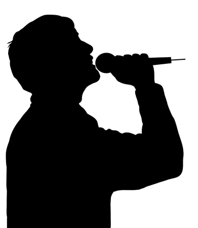 Silhouette of a person singing with a microphone