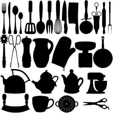 kitchen tools: Geïsoleerde silhouetten van keuken gerelateerde objecten