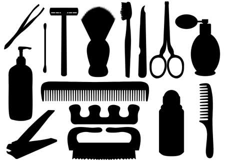 personal hygiene: Isolated silhouettes of personal hygiene related objects