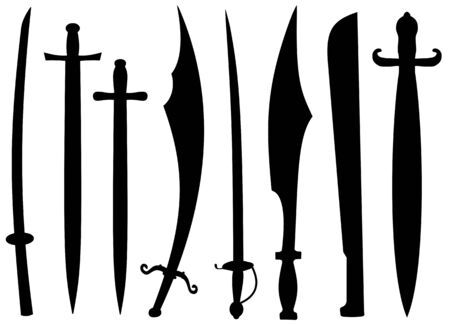 Isolated silhouettes of swords