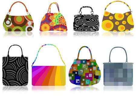 handbags: Illustration of eight retro handbags