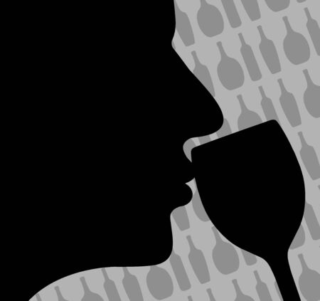 Illustration of a person smelling wine with bottles in the background illustration