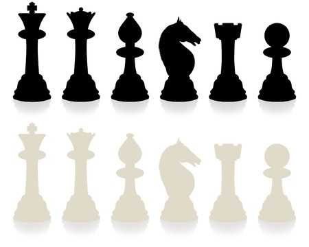 Illustrated chess set with slight reflection Stock Photo