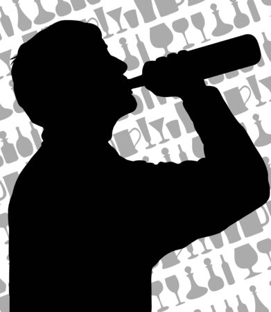 Silhouette of a man drinking from a bottle of wine in front of a background made of glasses and bottles