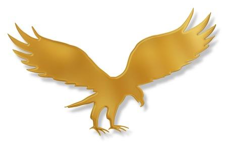 aigle royal: Illustration isol� d'un aigle d'or avec une ombre port�e
