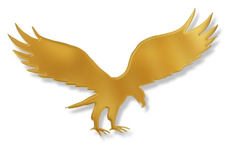 illustrated: Isolated illustration of a golden Eagle with drop shadow