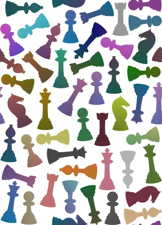 bishop: Seamless background of multicoloured chess pieces