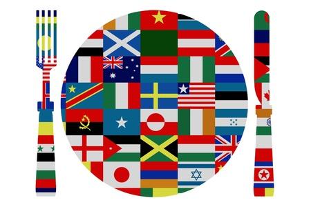 cuchillo y tenedor: Cuchillo aislados, tenedor y placa cubiertos de banderas del mundo