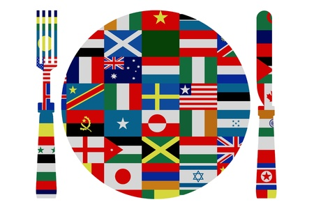 Isolated knife, fork and plate covered in world flags photo