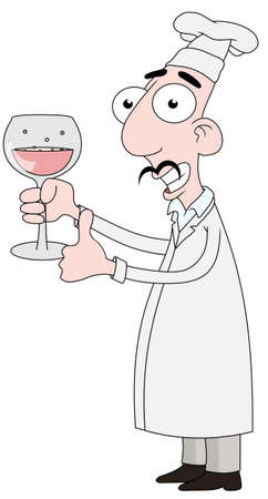 Isolated cartoon Chef character holding a glass of wine photo