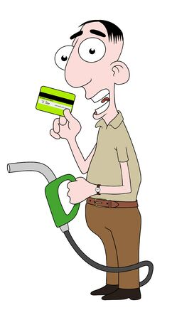 Isolated cartoon character holding fuel pump and credit card photo