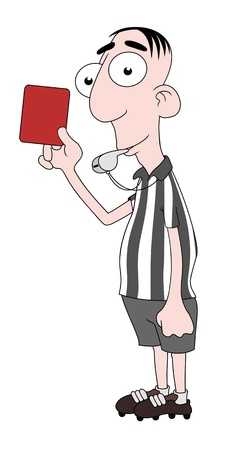 whistling: Isolated cartoon Referee character Stock Photo
