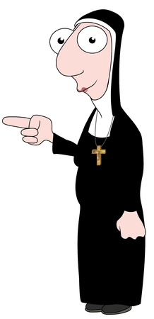 nun: Isolated cartoon Nun character