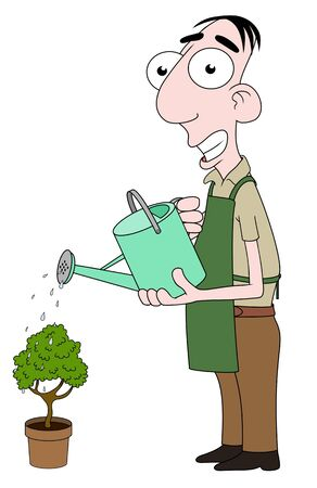 florists: Isolated cartoon Florist character watering a plant Stock Photo