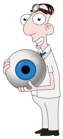 eye exam: Isolated cartoon Optician character holding an eyeball Stock Photo