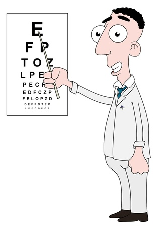 eye exam: Isolated cartoon Optician character using a stick to point at an eye chart Stock Photo